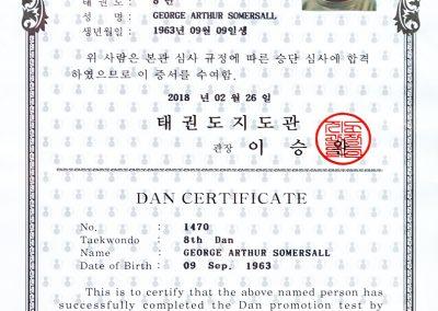 7 Grand Master George Somersall - DAN Certificate